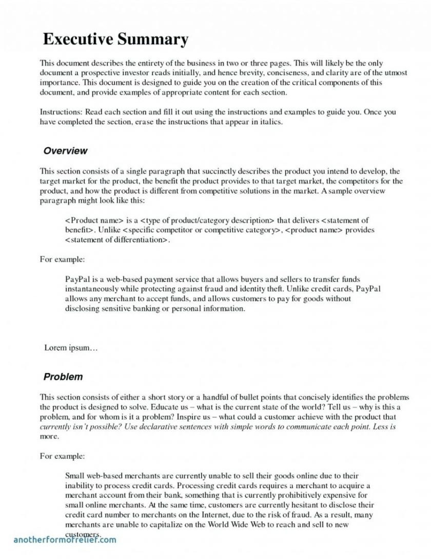 Sample Of Executive Summary Business Plan Example For Proposal Throughout Executive Summary Of A Business Plan Template