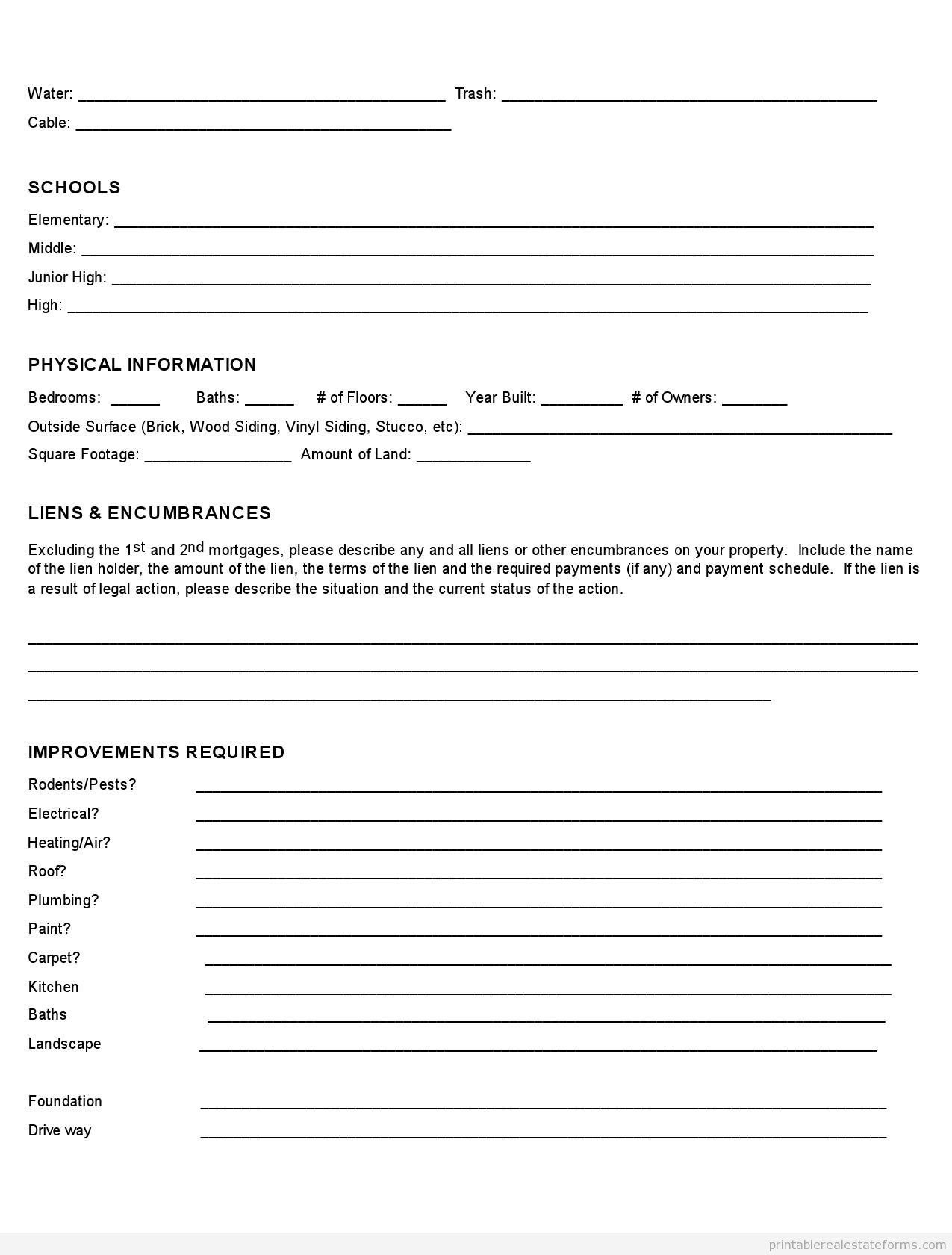Sample Printable Property Fact Sheet Form  Printable Real Estate Regarding Free Commercial Property Management Agreement Template