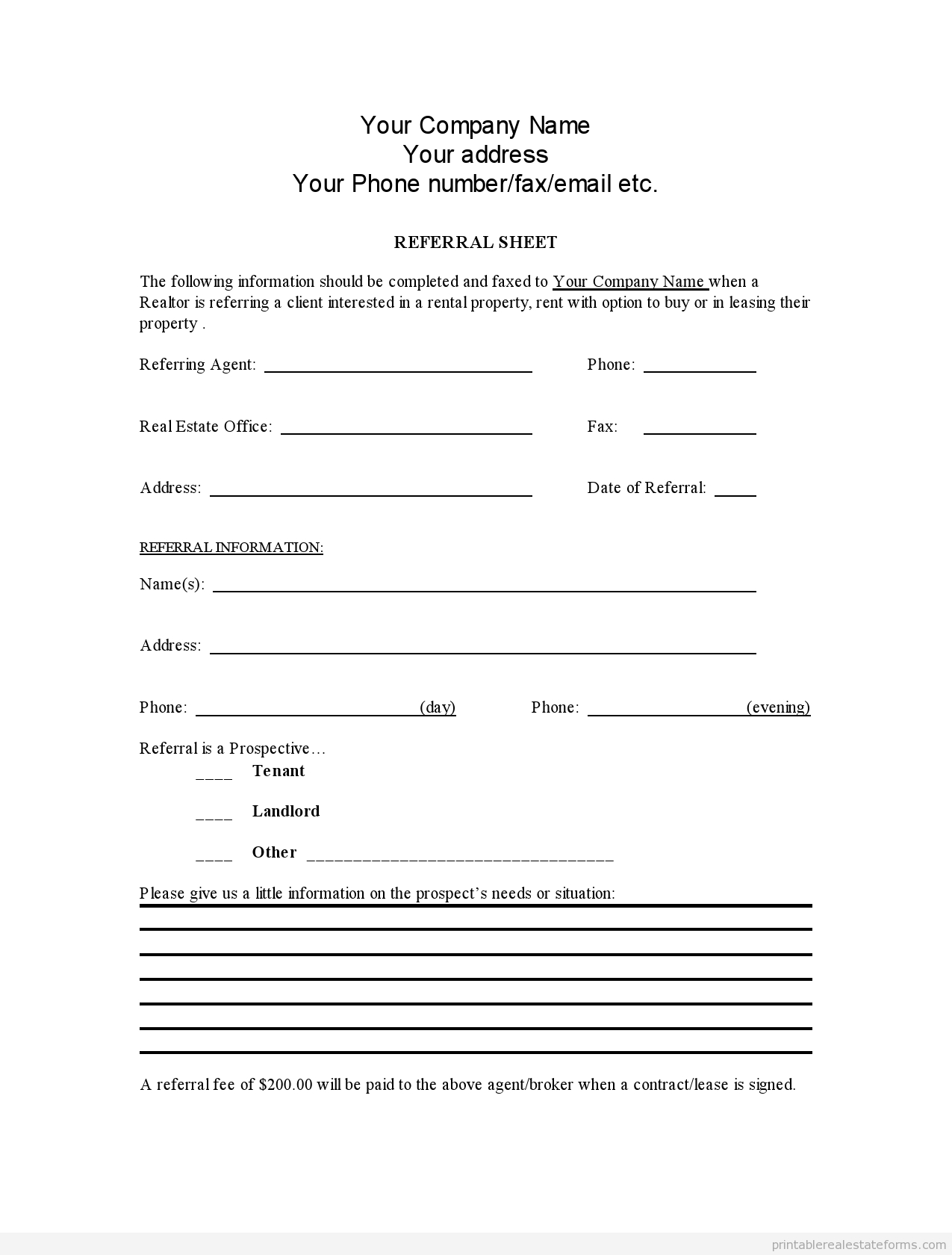 Sample Printable Referral Sheet For Realtors Form  Latest Sample Within Free Referral Fee Agreement Template