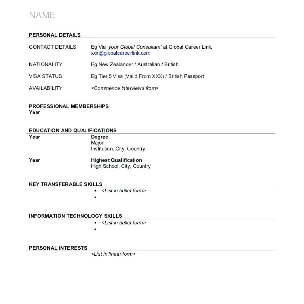Sample Resume Download Blank Resume Format  Cometmerch Intended For Free Blank Cv Template Download