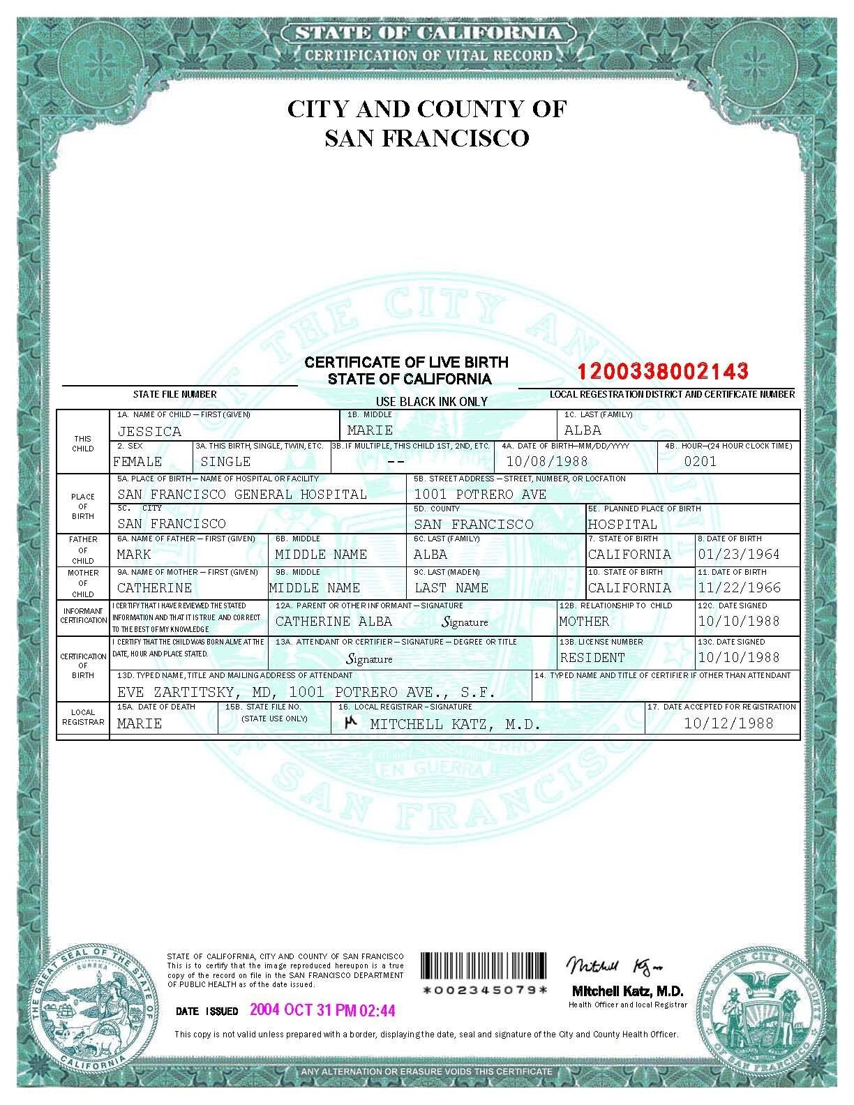 San Francisco Birth Certificate Template  Bah  Birth Certificate In Birth Certificate Fake Template