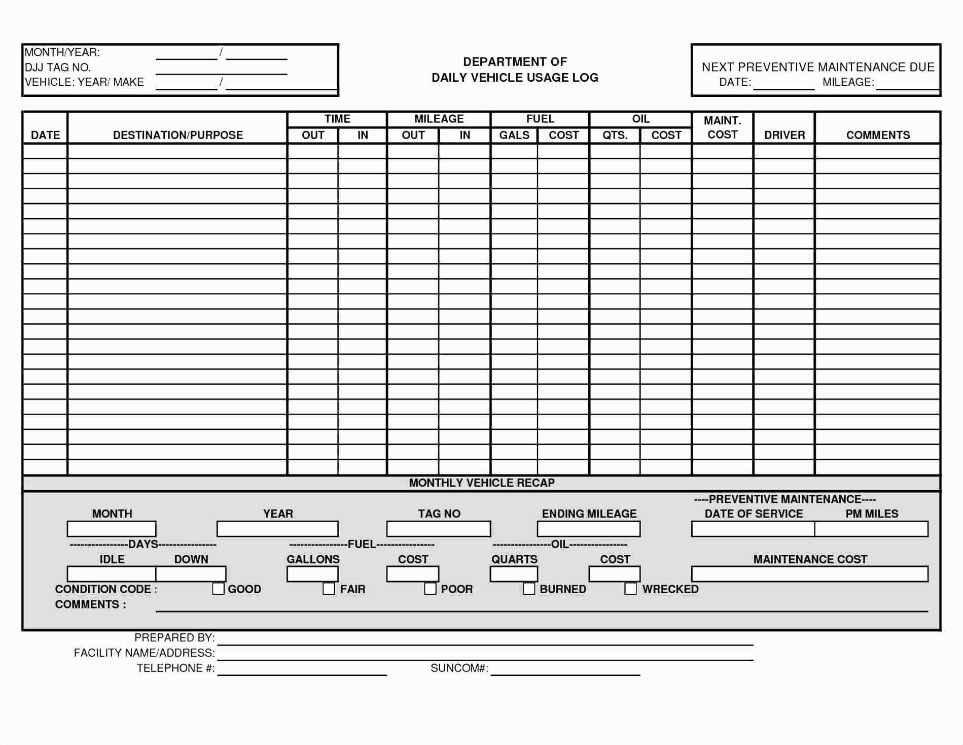 Schedule Template Driver Excel Vehicle Fleet Management Spreadsheet For Fleet Management Report Template