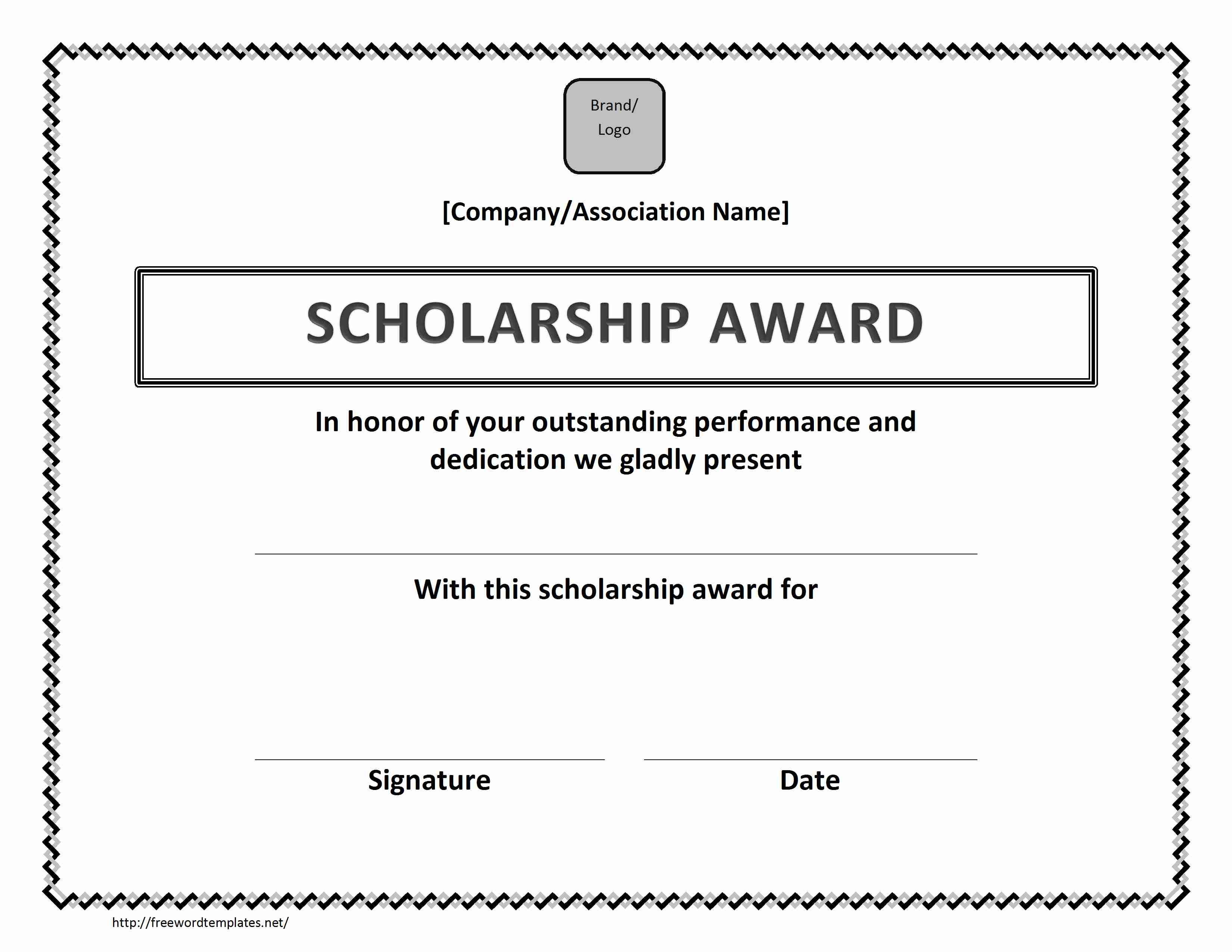 Scholarship Award Certificate With Microsoft Word Award Certificate Template