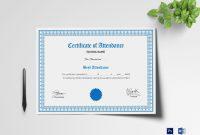 School Attendance Certificate Design Template In Psd Word with Mock Certificate Template
