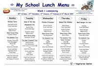 School Lunchnu Template Business Templates For Word Weekly throughout Free School Lunch Menu Templates