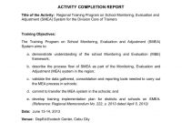 School Monitoring Evaluation And Adjustment Activity Completion inside Monitoring And Evaluation Report Template