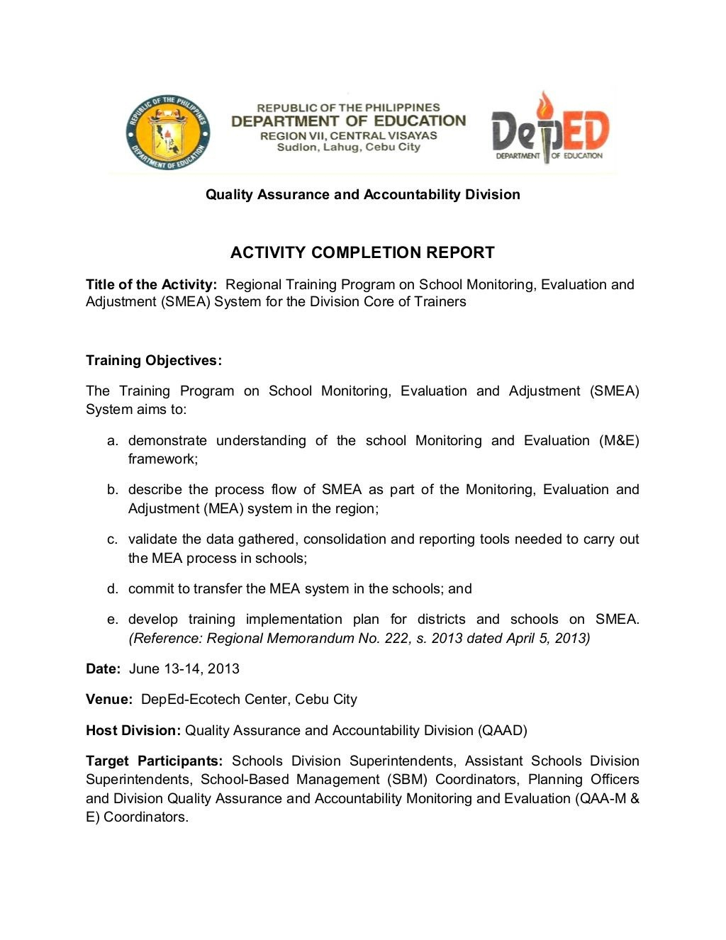 School Monitoring Evaluation And Adjustment Activity Completion Regarding M&e Report Template