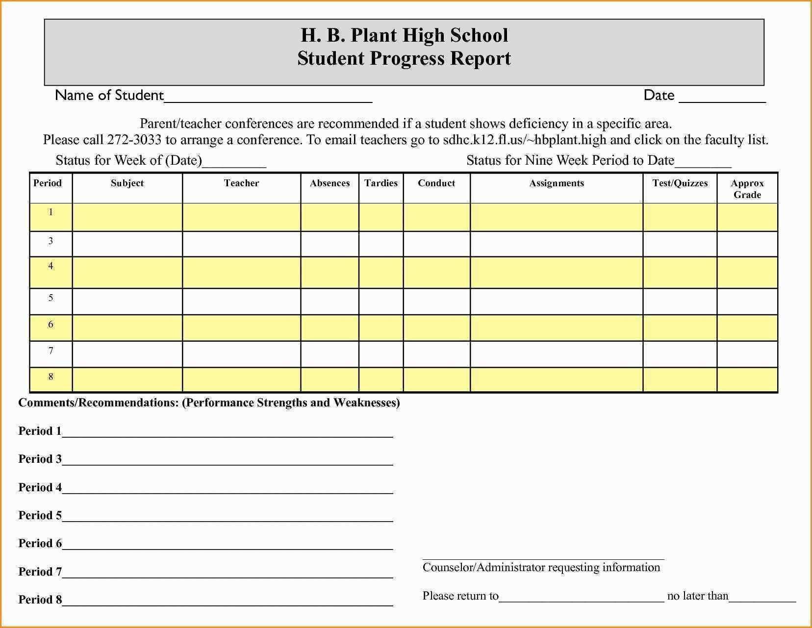 School Progress Report Template  Glendale Community With Regard To High School Progress Report Template