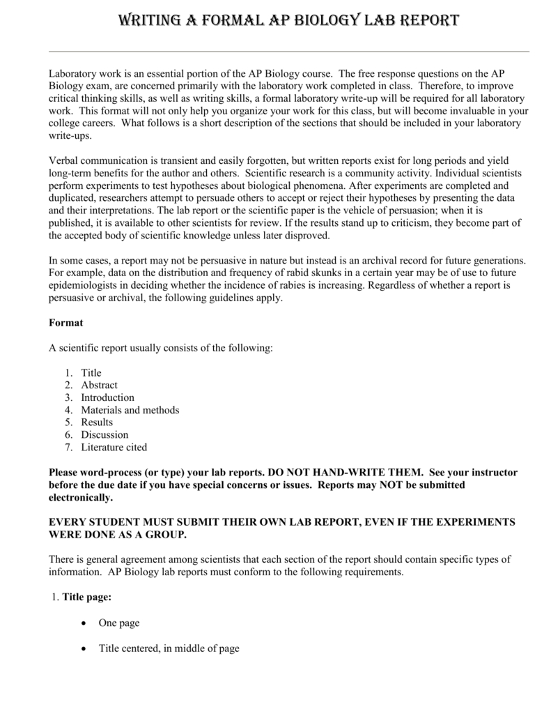 Science Lab Report Template  Pcmac For Science Experiment Report Template