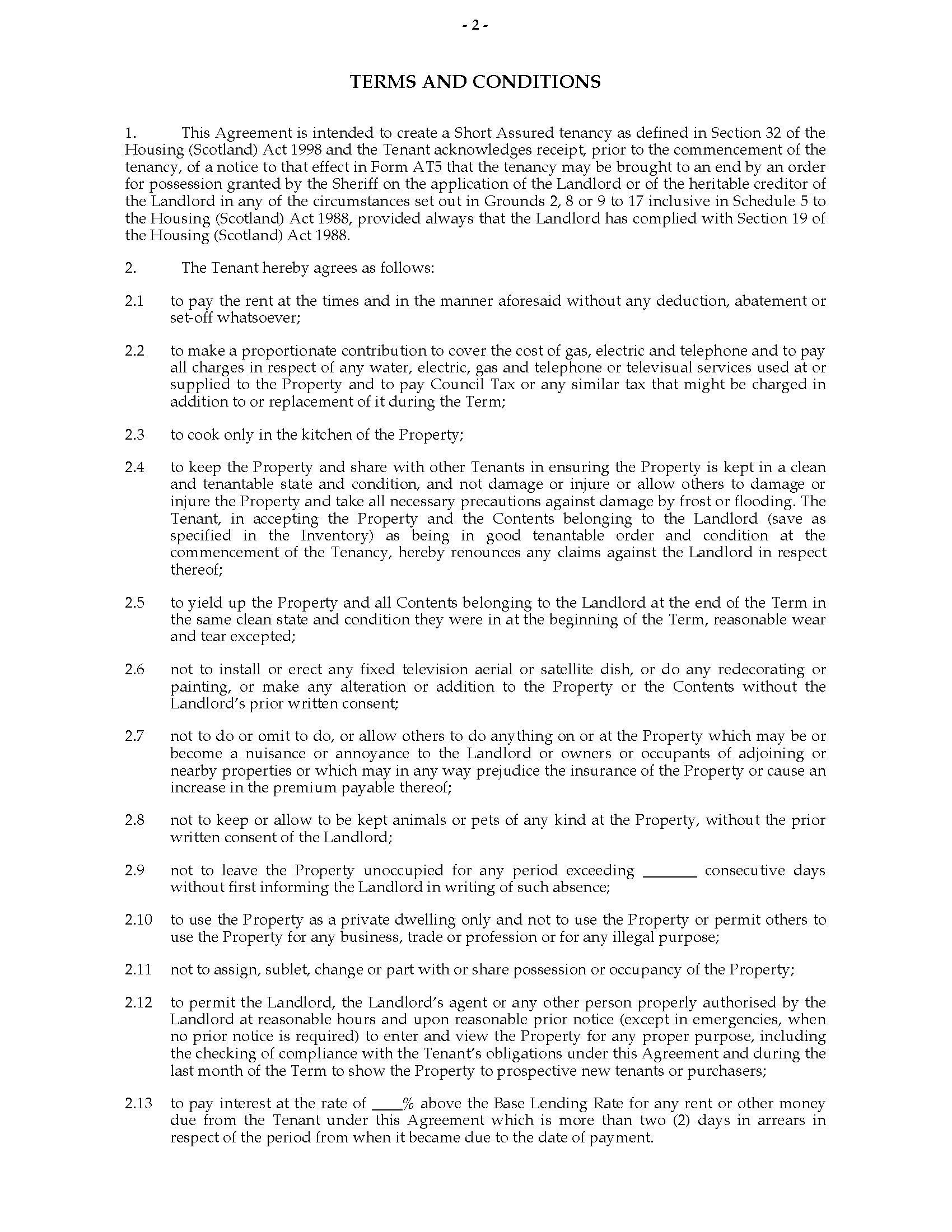 Scottish Multiple Occupancy Short Assured Tenancy Agreement  Legal Throughout Scottish Short Assured Tenancy Agreement Template