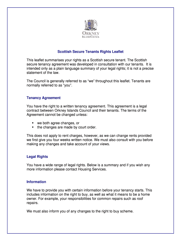 Scottish Secure Tenants Rights Leaflet Fill Online Printable Regarding Scottish Secure Tenancy Agreement Template