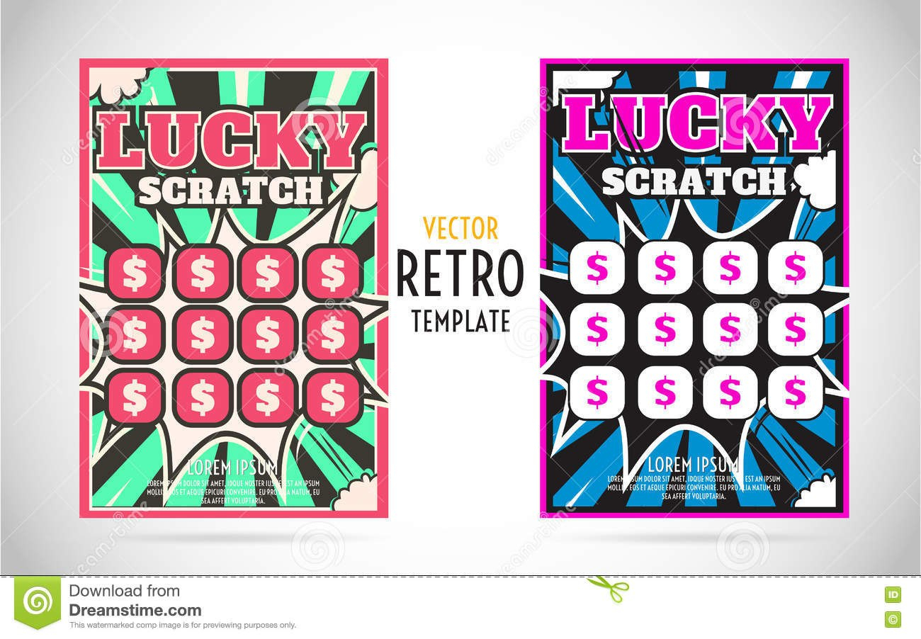 Scratch Off Lottery Ticket Vector Design Template Stock Vector Within Scratch Off Card Templates