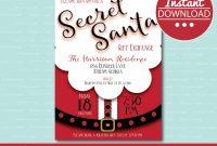 Secret Santa Invitation Editable Printable Christmas Gift intended for Secret Santa Label Template