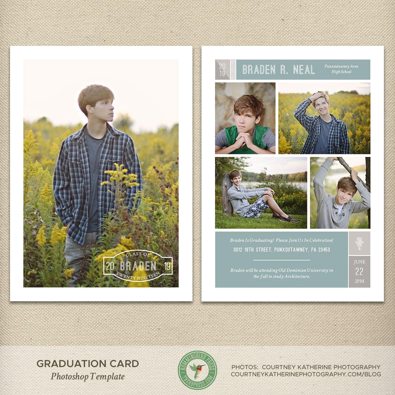 Senior Graduation Card Template Graduation Announcement Open  Etsy Regarding Dominion Card Template