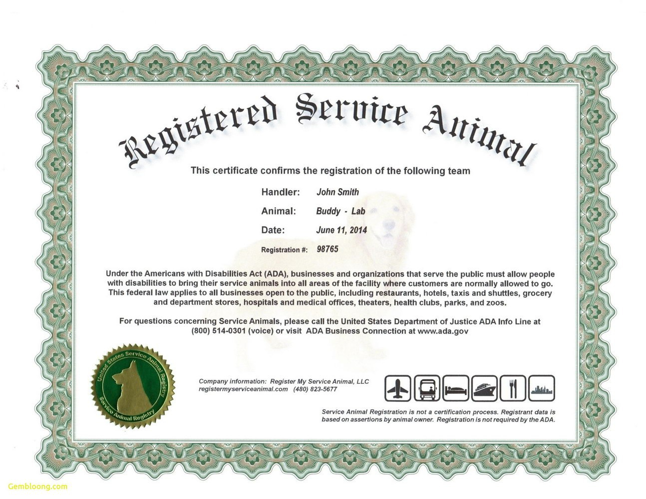 Service Dog Certificate Template Frightening Ideas Training Id In Service Dog Certificate Template