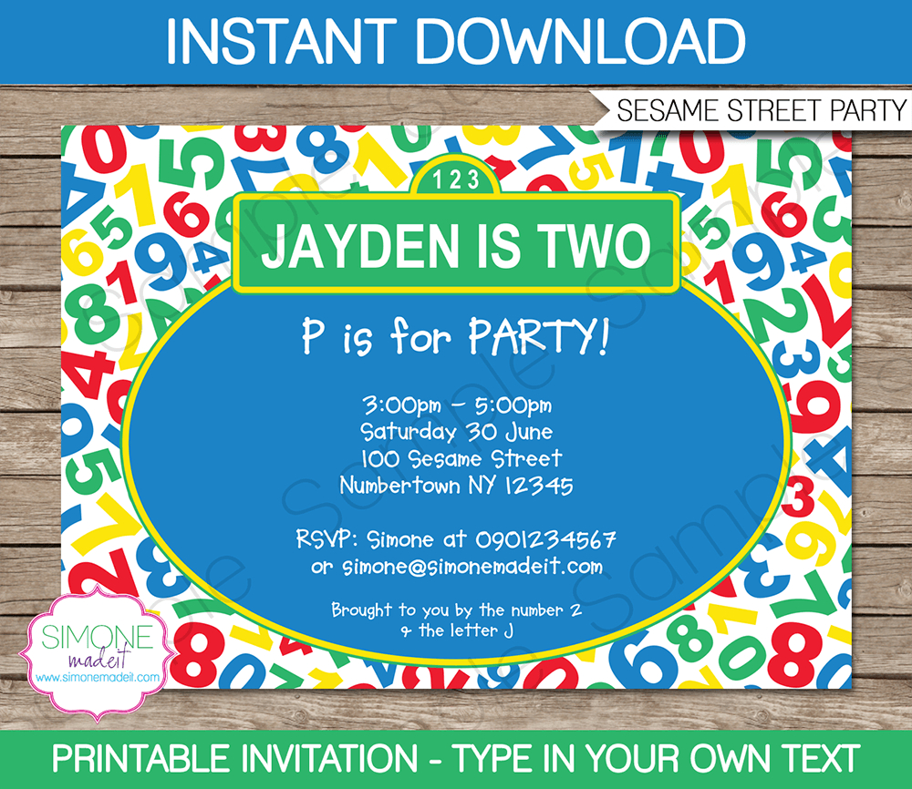 Sesame Street Party Invitations Template  Birthday Party Intended For Sesame Street Banner Template