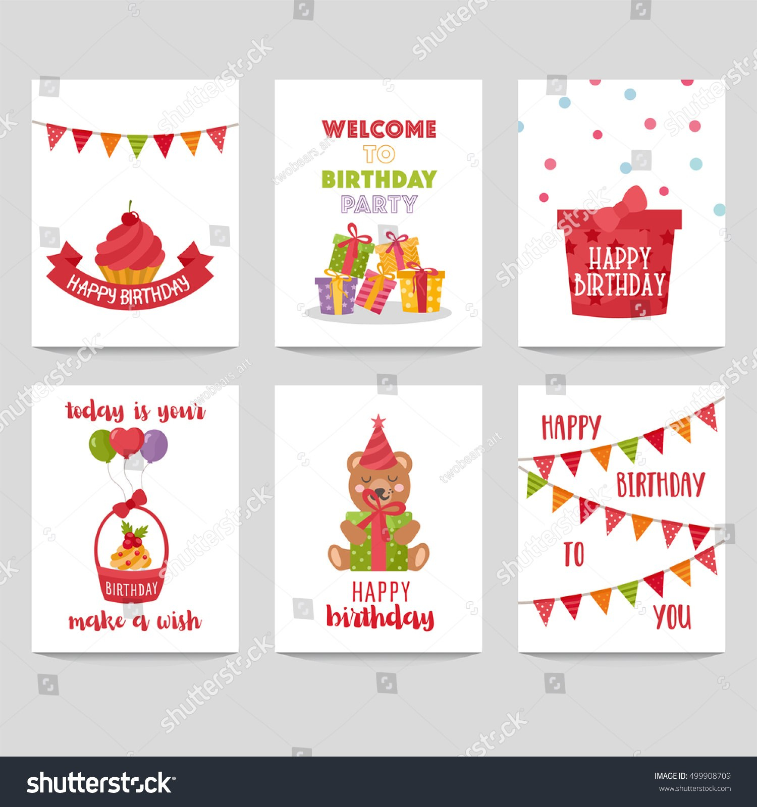 Set Birthday Labels Template Funny Illustration Stock Vector Within Birthday Labels Template Free