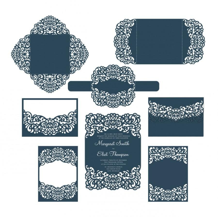 Set Laser Cut Wedding Invitation Templates Card  Envelope Belly Within Silhouette Cameo Card Templates