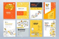 Set Of Brochure Design Templates On The Subject Of Education School within School Brochure Design Templates