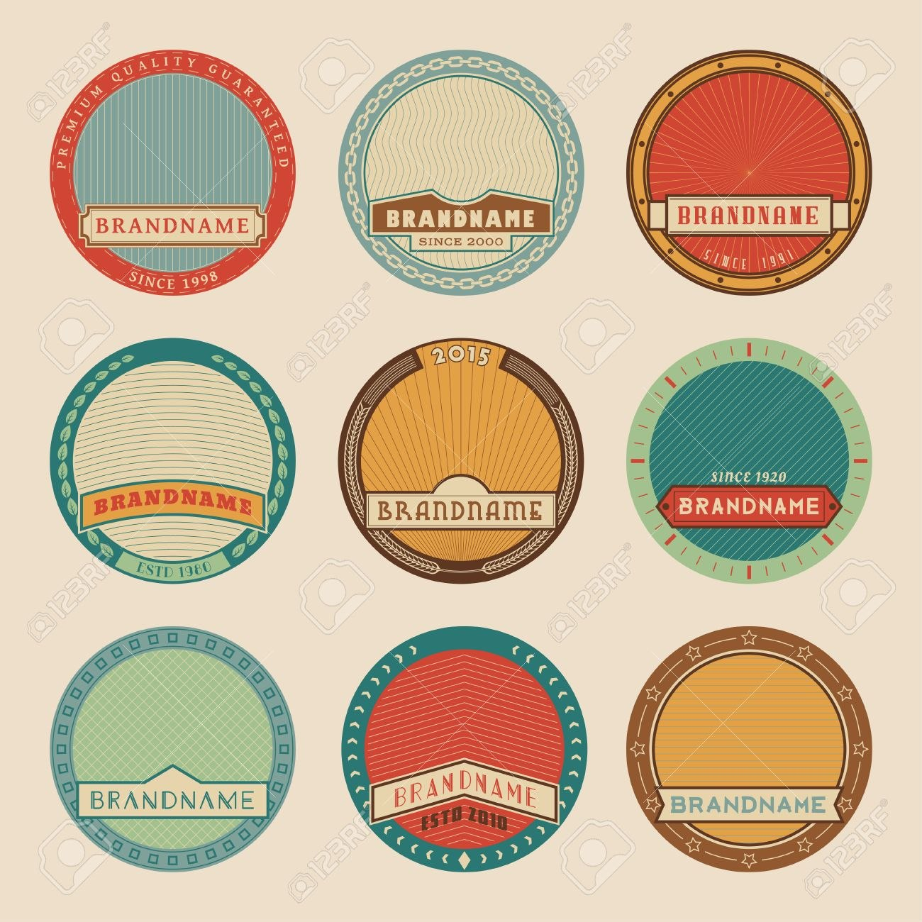 Set Of Color Vector Round Label Templateslogotypes And Badges Inside Free Round Label Templates Download