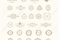 Set Of Elegant Floral Monograms And Borders Design Templates within Free Label Border Templates