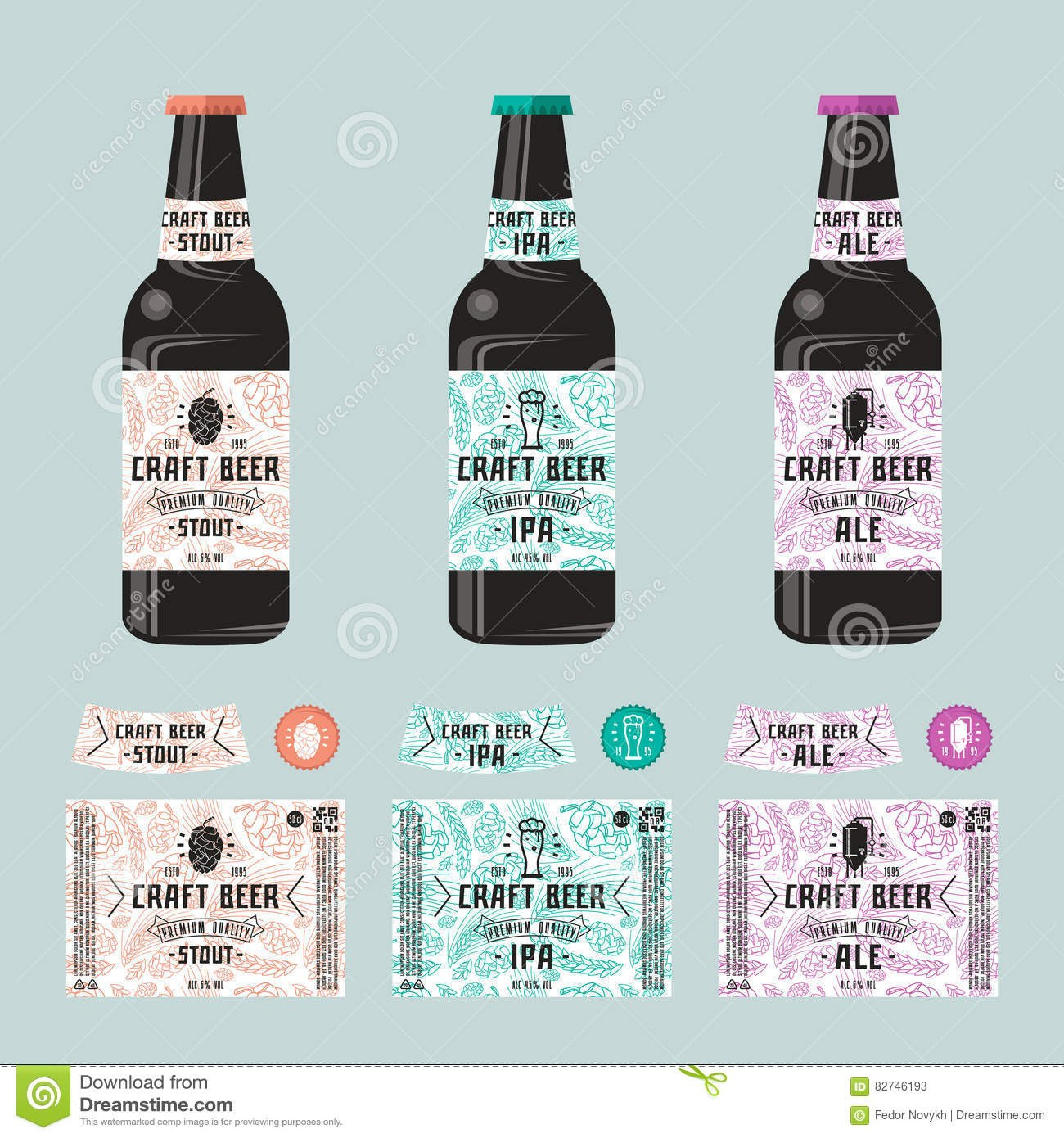 Set Of Templates Label For Craft Beer Stock Vector  Illustration Of With Craft Label Templates