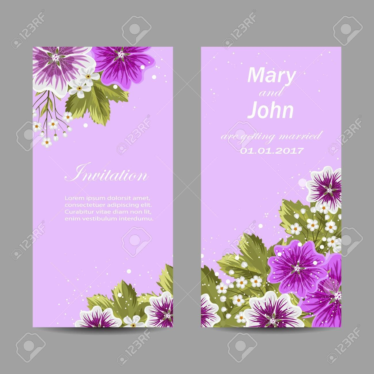 Set Of Wedding Invitation Cards Design Beautiful Mallow Flowers Inside Invitation Cards Templates For Marriage