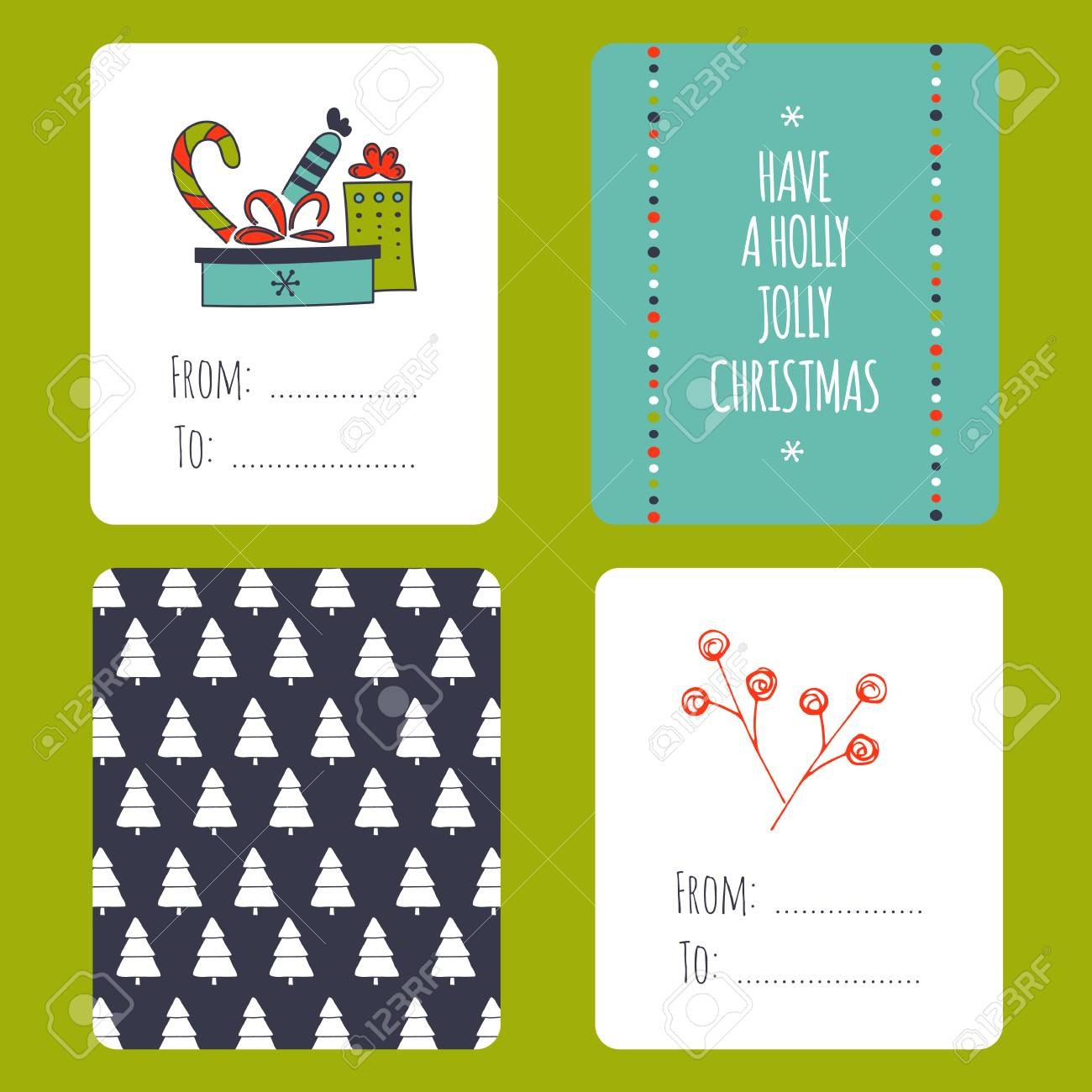 Set Of Winter Small Card Templates Collection For Christmas With Small Greeting Card Template