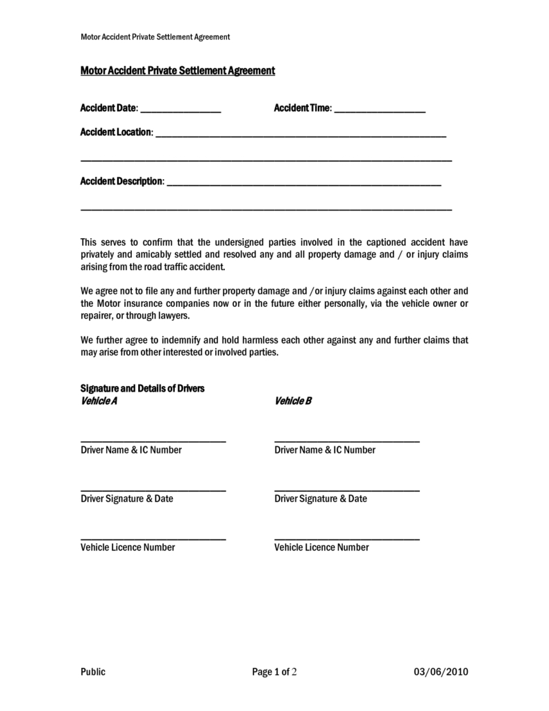Settlement And Release Sample Templates  Samples And Templates Intended For Settlement Agreement And Release Of All Claims Template