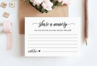 Share A Memory Printable Card Wedding Advice Template For regarding In Memory Cards Templates