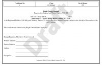 Share Certificate Template  Stock Certificate within Template Of Share Certificate