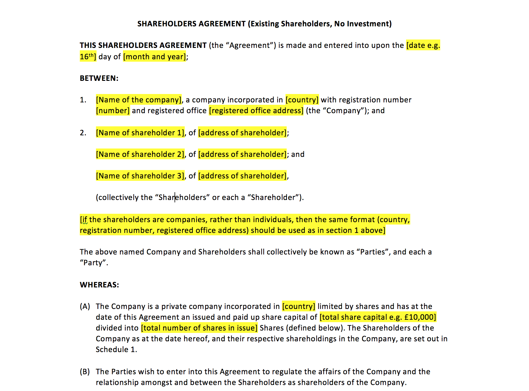 Shareholders Agreement Template – Uk Template Agreements And Sample Regarding Shareholders Agreement Template For Small Business
