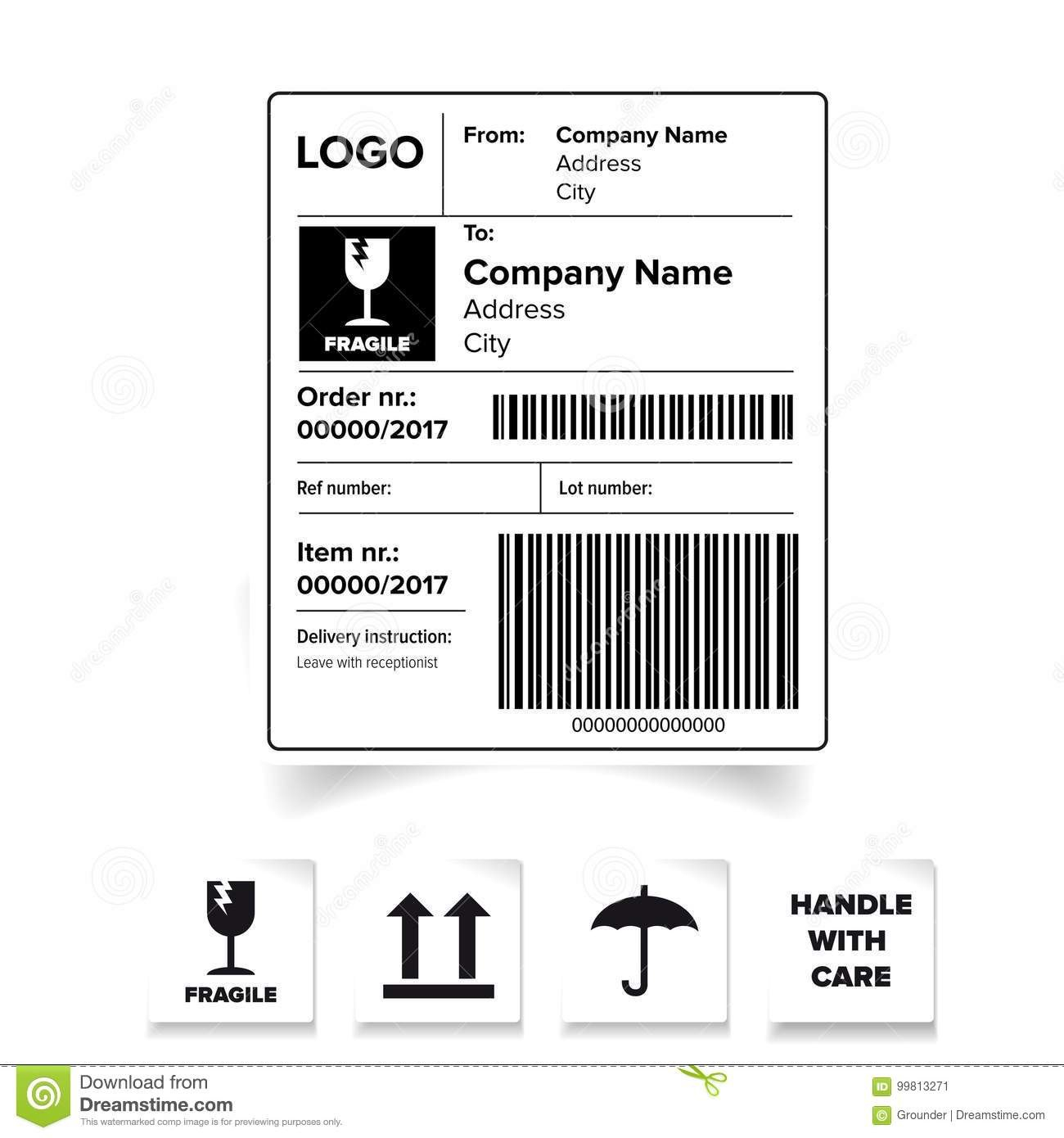 Shipping Label Barcode Template Stock Vector  Illustration Of Stamp With Regard To Package Shipping Label Template
