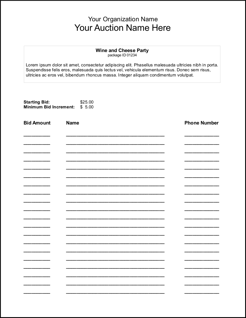 Silent Auction Bid Sheet Template  Google Search  Auction Ideas For Auction Bid Cards Template