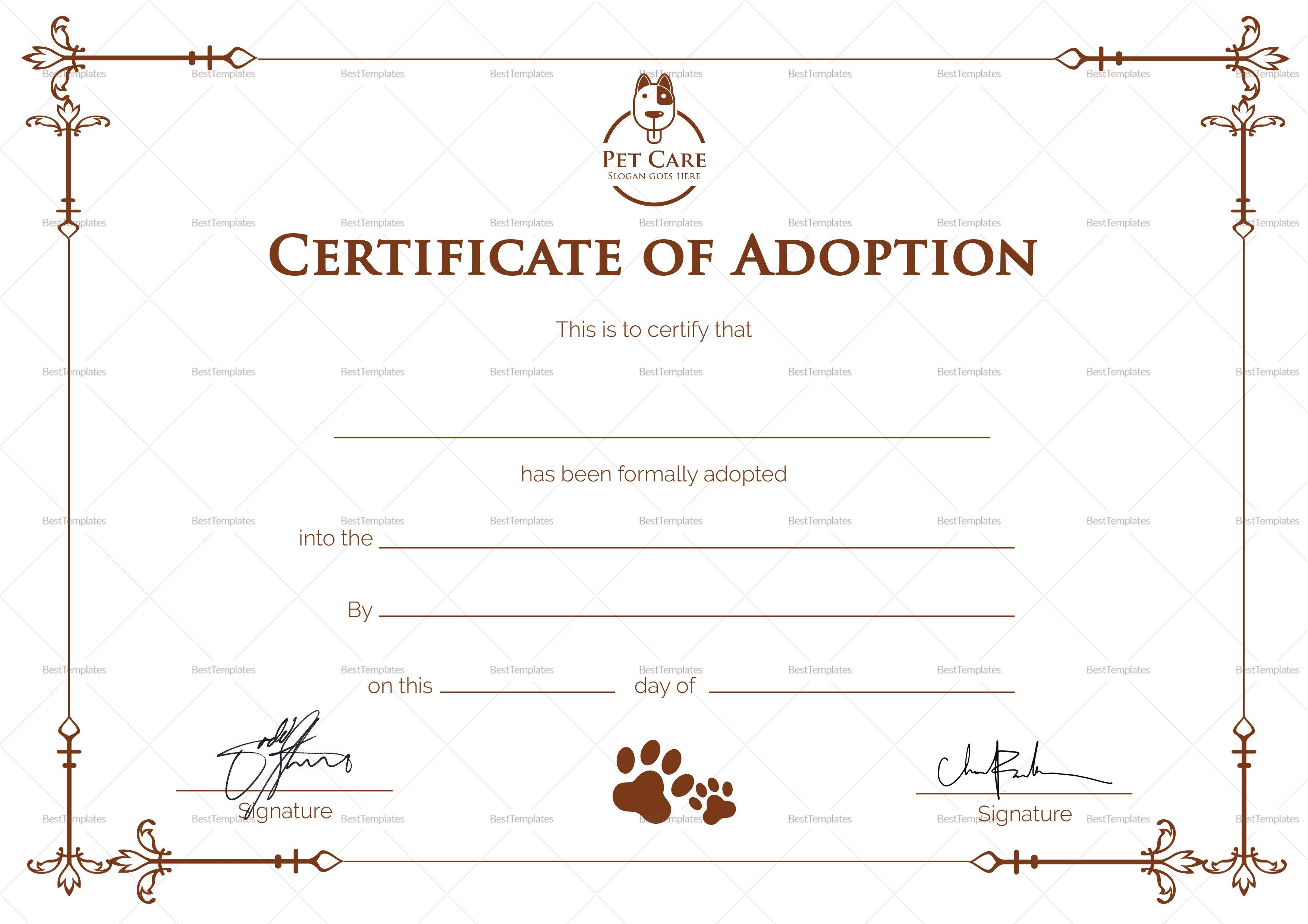 Simple Adoption Certificate Design Template In Psd Word Pertaining To Adoption Certificate Template