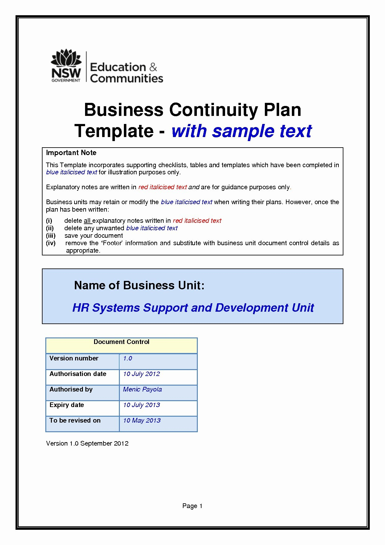 Simple Business Continuity Plan Template Valid Business Regarding Simple Business Continuity Plan Template