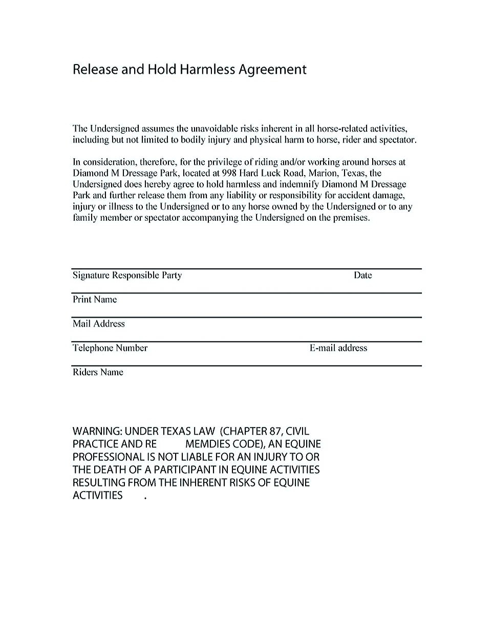 Simple Hold Harmless Agreement Template  Mandegar Pertaining To Simple Hold Harmless Agreement Template
