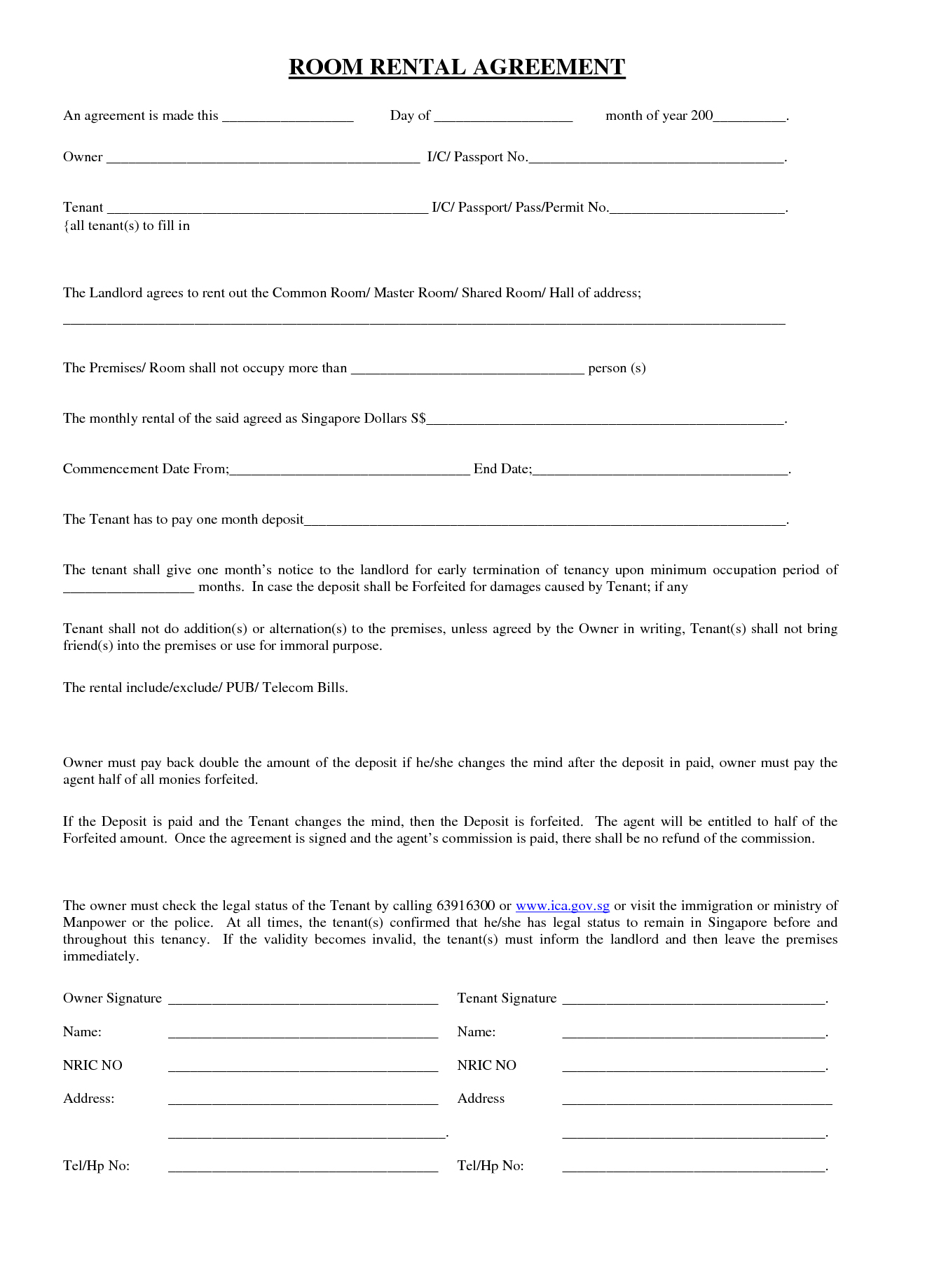 Simple House Lease Agreement  Simple Room Rental Agreement Throughout Simple House Rental Agreement Template