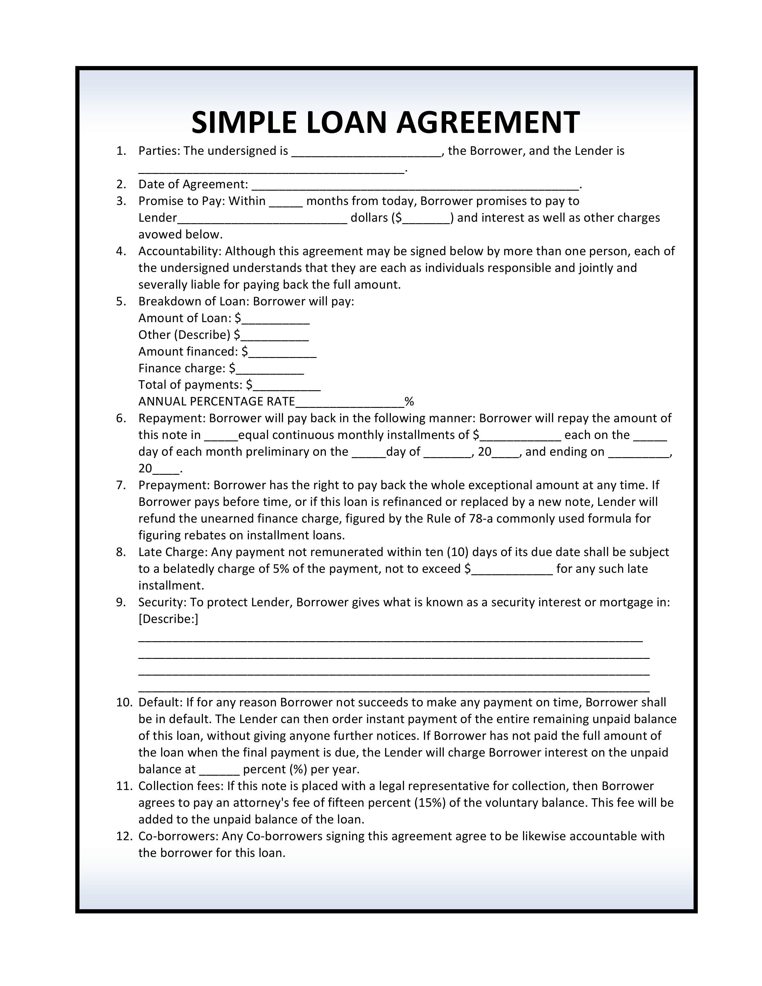 Simple Loan Agreement  Telugu  Resume Template Free Loans For Regarding Free Installment Loan Agreement Template