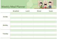 Simple Meal Planner for Weekly Dinner Menu Template