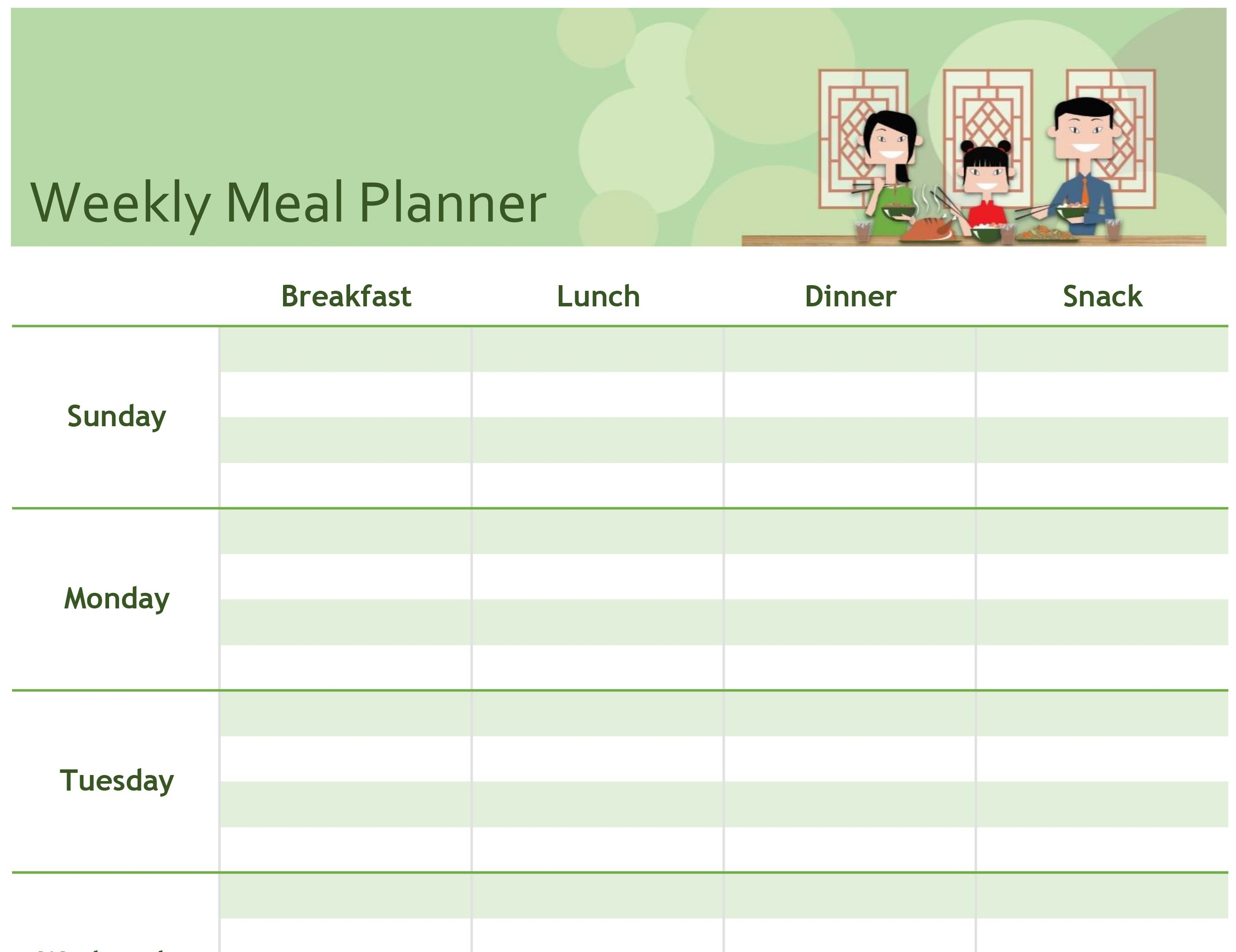 Simple Meal Planner Intended For Weekly Meal Planner Template Word