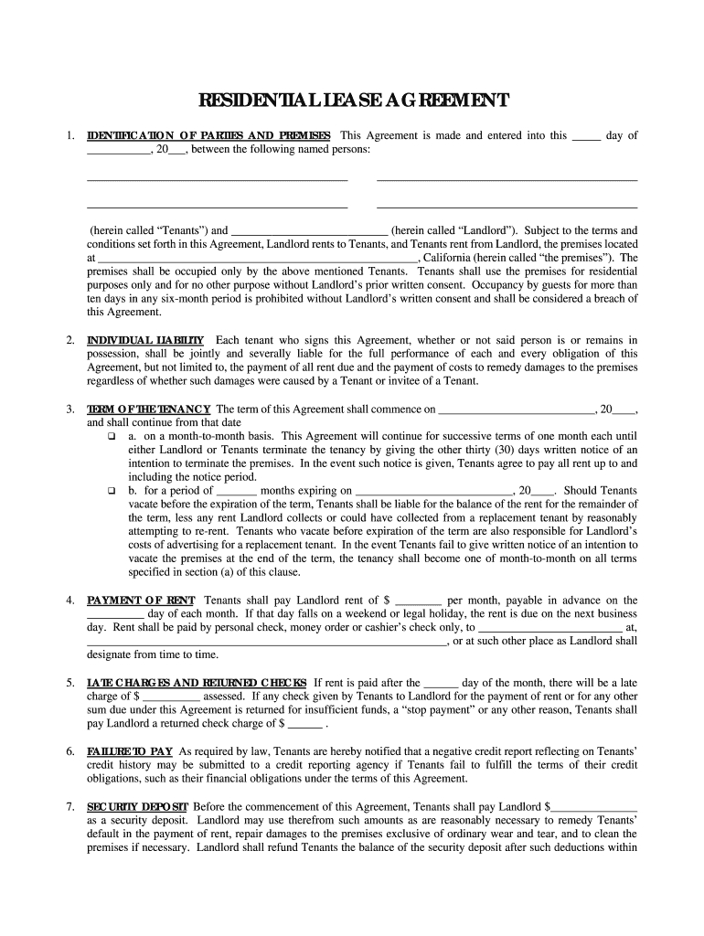 Simple One Page Lease Agreement  Fill Online Printable Fillable Intended For Free Printable Residential Lease Agreement Template