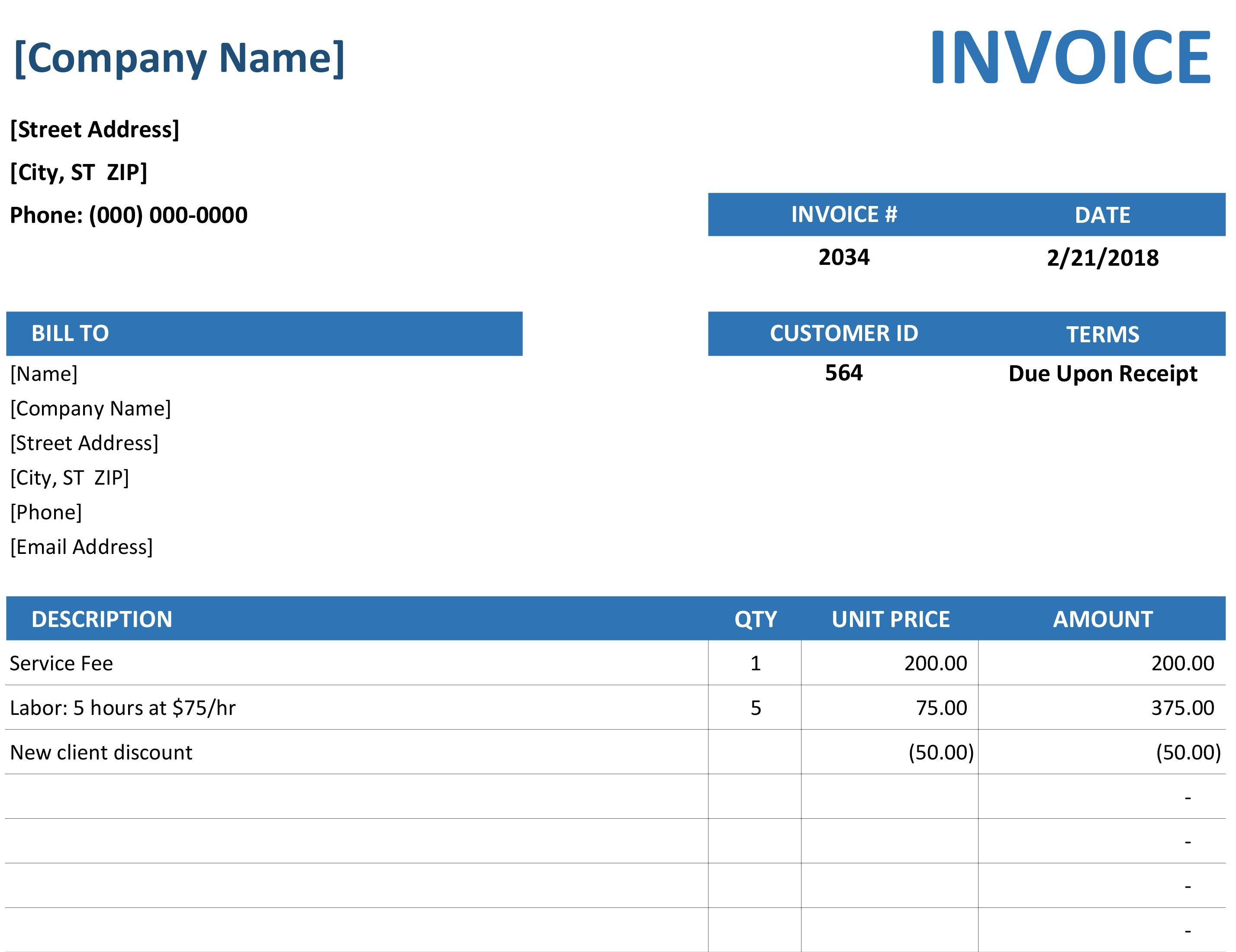 Simple Service Invoice Throughout Excel 2013 Invoice Template