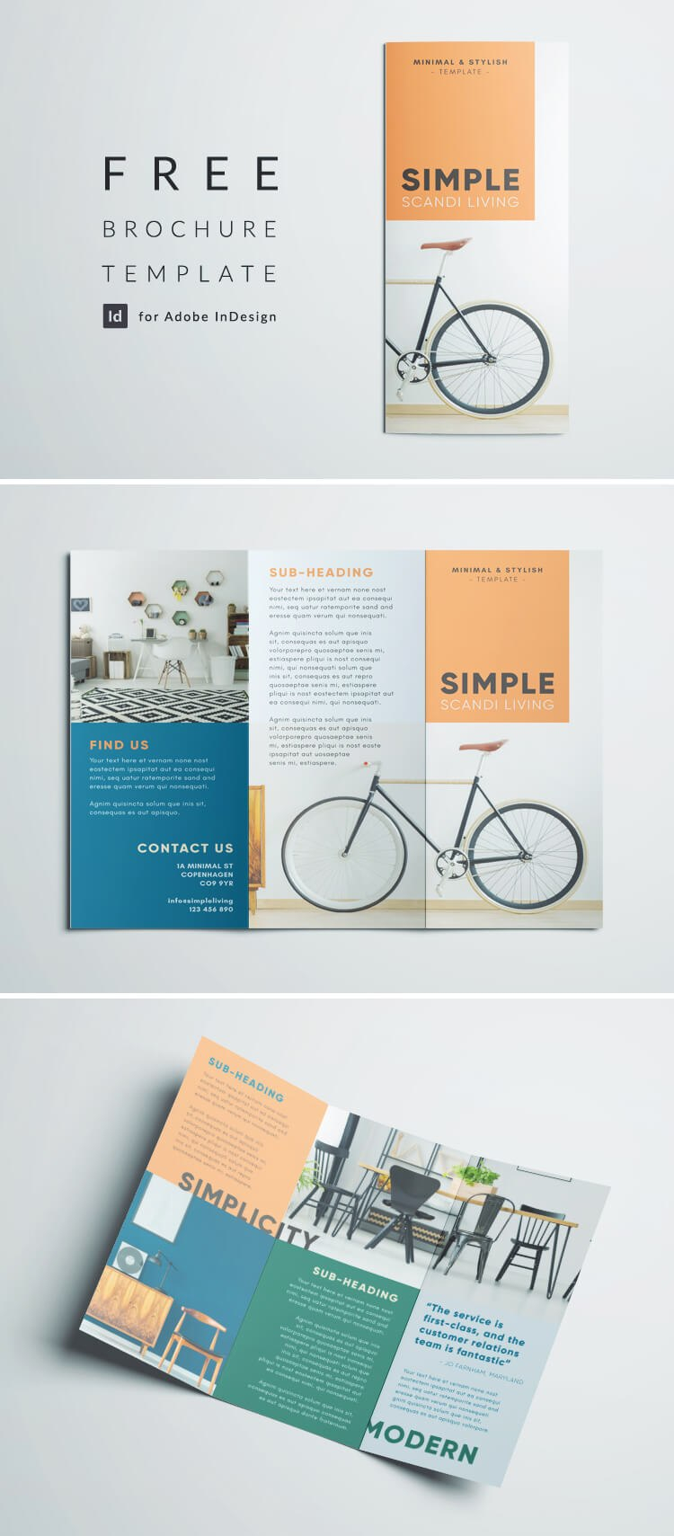 Simple Tri Fold Brochure  Free Indesign Template Inside Adobe Indesign Brochure Templates