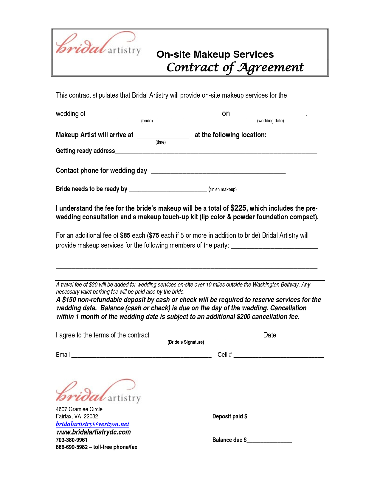 Site Makeup Services Contract Agreement   Makeup Artist Inside Free Makeup Wedding Contract Templates