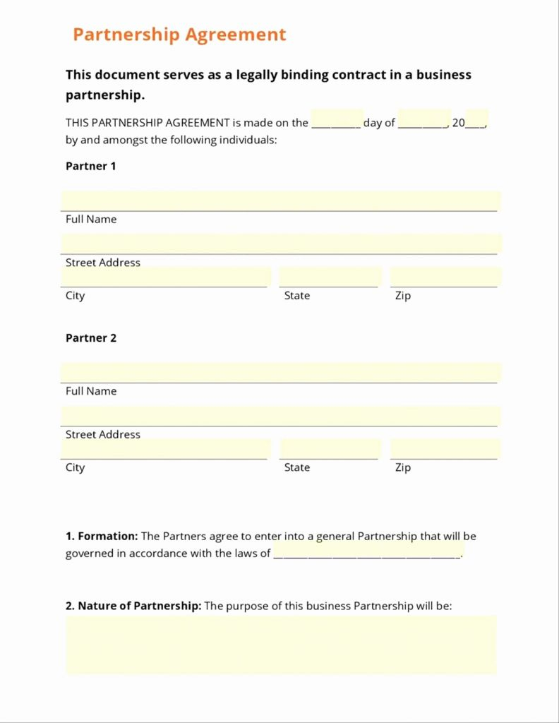 Small Business Partnership Agreement Template New Contract Regarding Free Small Business Partnership Agreement Template