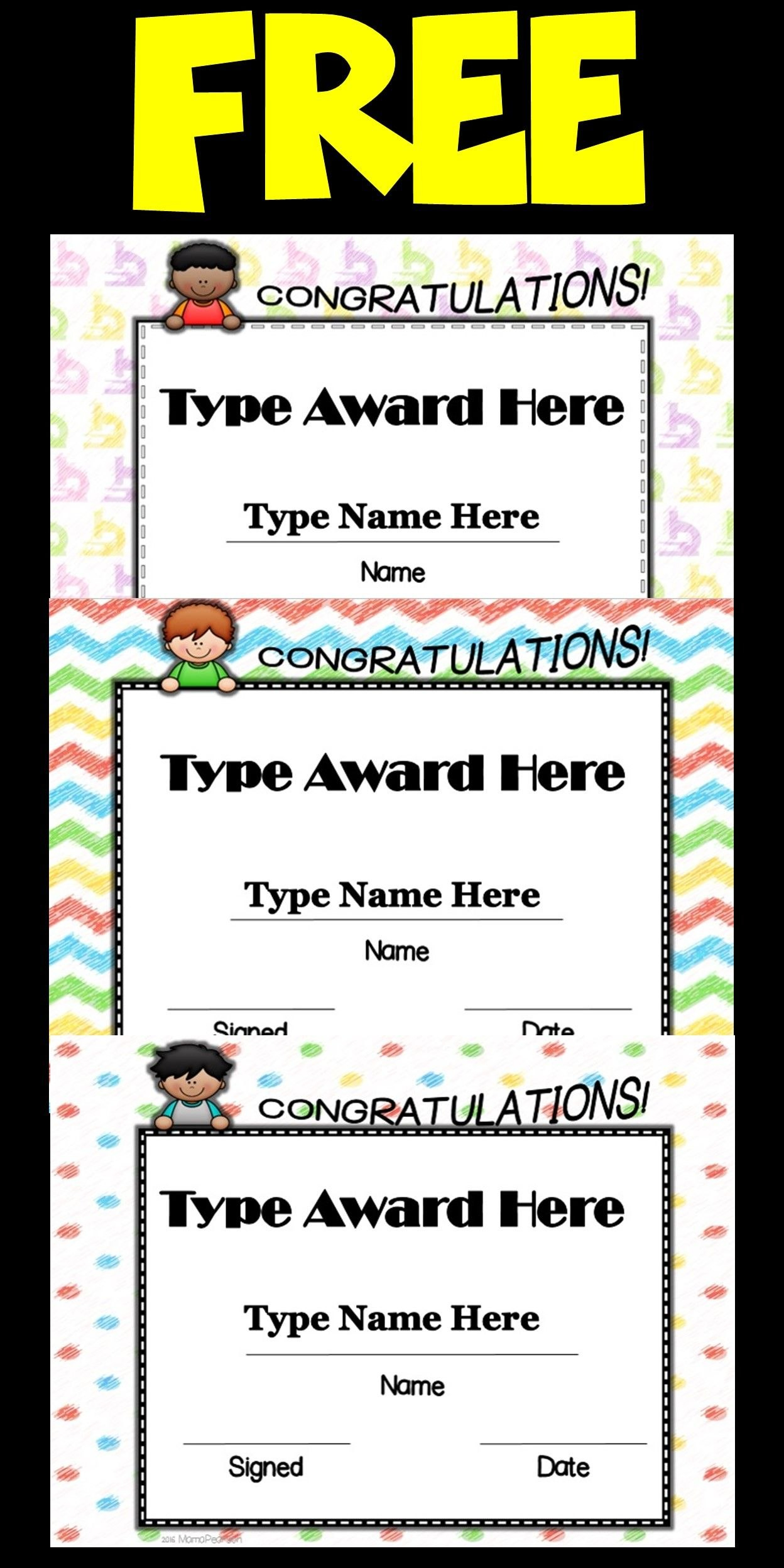 Small Kids End Of The Year Editable Awards  Learning And Teaching Throughout Small Certificate Template