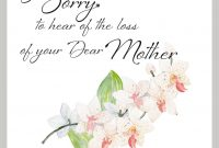So Sorry To Hear The Loss Of Your Dear Mother  Wow Vow regarding Sorry For Your Loss Card Template