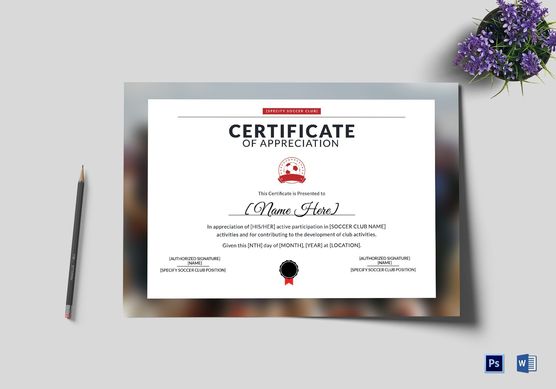 Soccer Appreciation Certificate Design Template In Psd Word Throughout Soccer Certificate Templates For Word