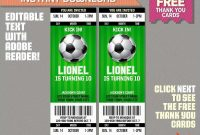 Soccer Ticket Invitation Template Free Best Of Soccer Ticket with Soccer Thank You Card Template
